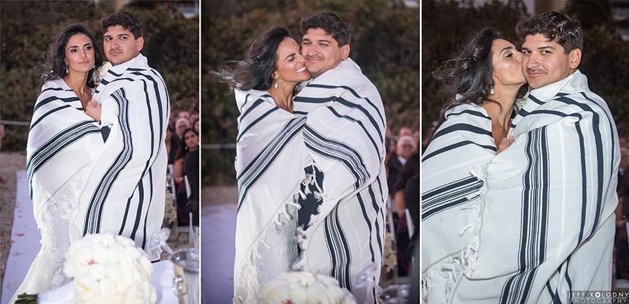 Jewish beach wedding ceremony at The Eden Roc Hotel.