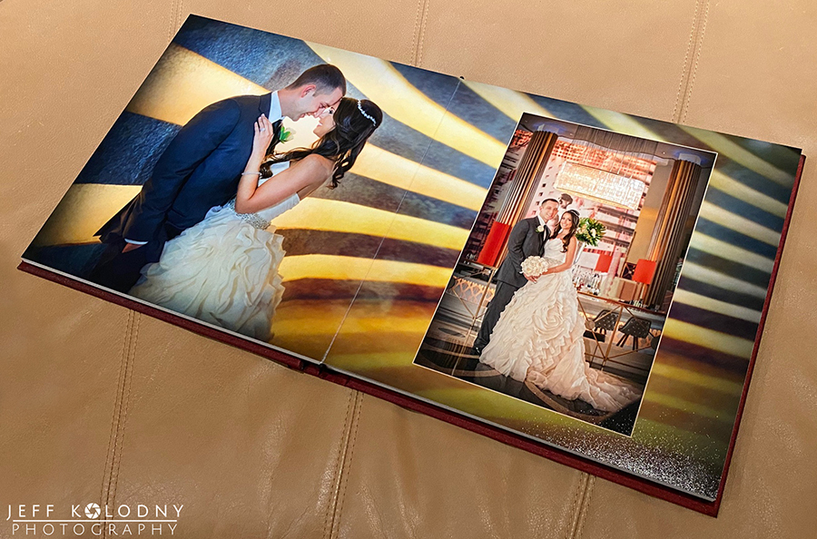This wedding album double page spread was created with pictures taken in side the Eden Roc Lobby