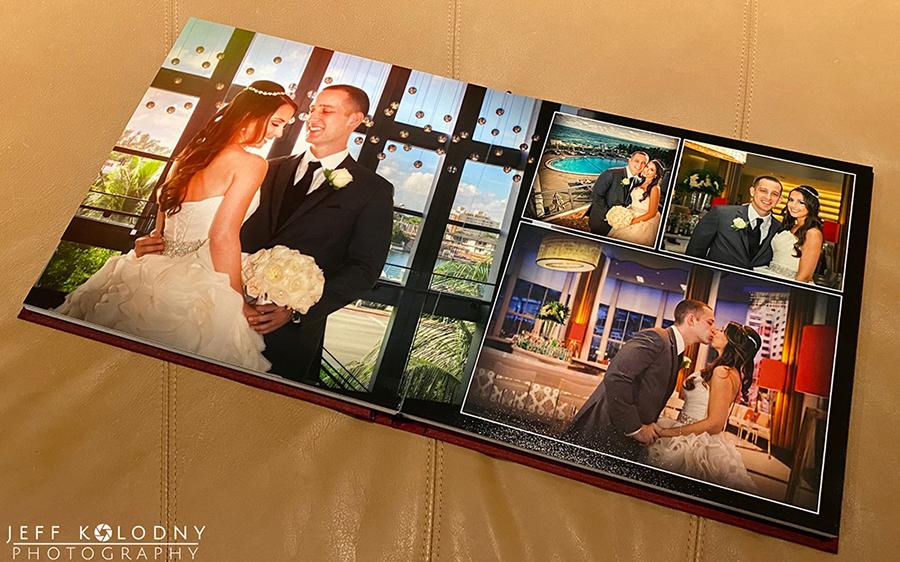 Eden Roc Wedding photos showing one of our custom album designs.
