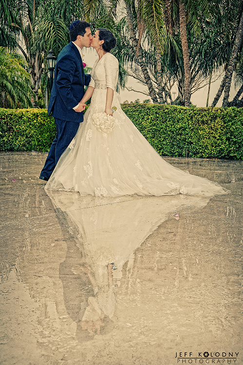 Taken in the rain. South Florida Bride and Groom photos taken at a Jewish Orthodox wedding.