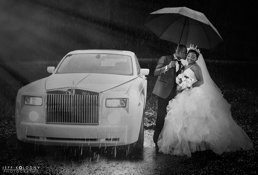 It's poured after the ceremony at a Boca Raton Church.  I couldn't help but set up this quick umbrella photo.