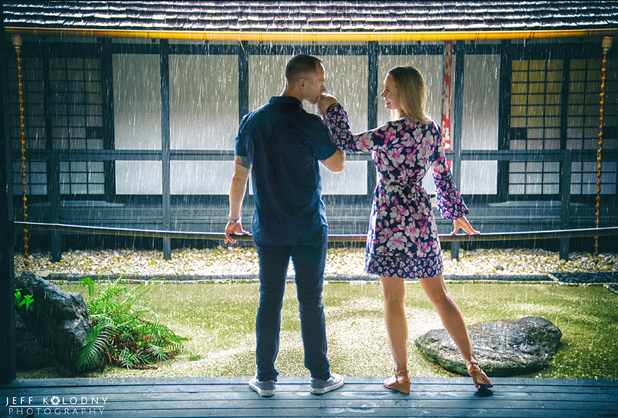 Engagement photo taken at The Morikami Gardens in Delray Beach, Florida.