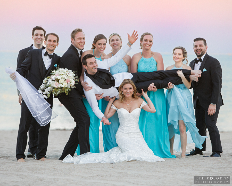 I had a great time shooting this fun bridal party photo on the Harbor Beach Marriott beach.