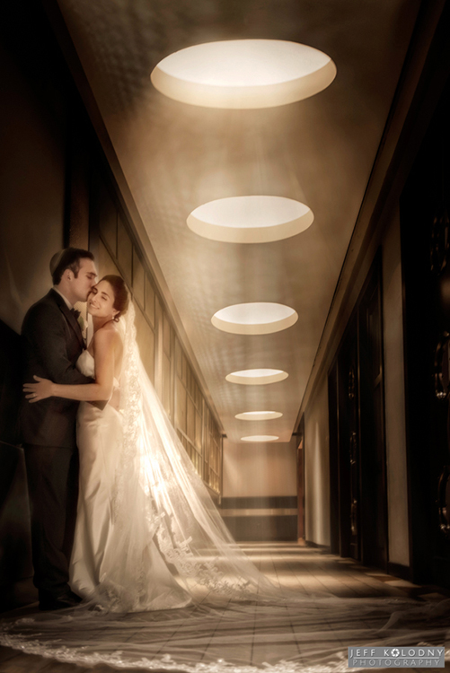 This bride and groom photo was captured the hotel walkway that leads from the main lobby to the Ocean Terrace.