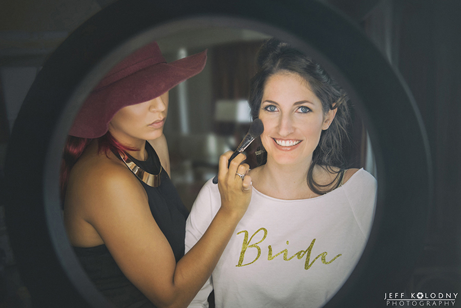Bride getting her make-up done at the Harbor Beach Marriott, Fort Lauderdale.