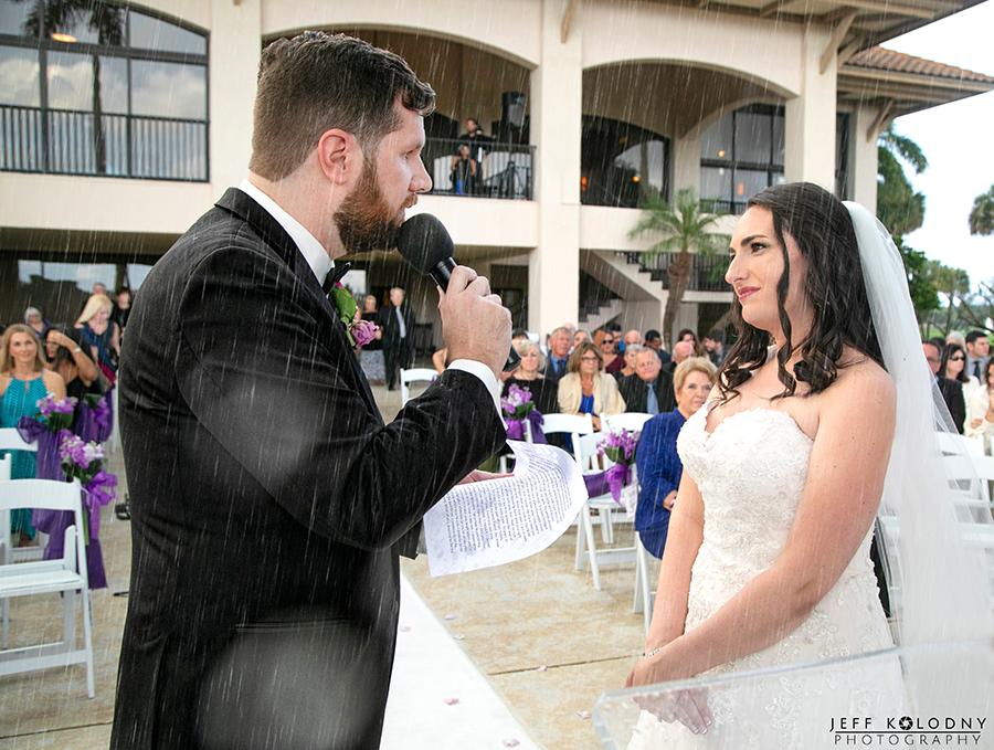 Rain during a Boca Raton wedding.