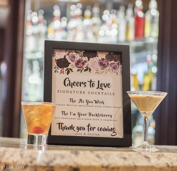 The bride and groom created their own special wedding day drink.