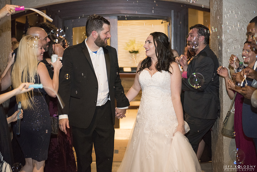 Bride and Groom departed their wedding reception with a bubble send-off.