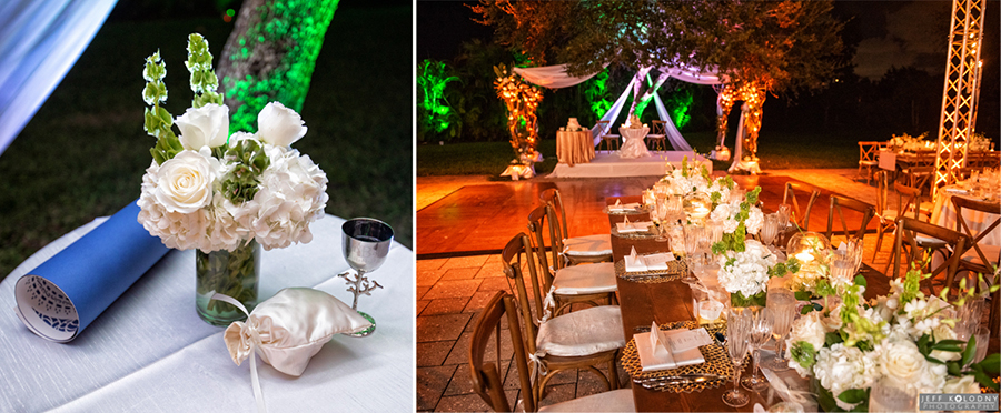 Wedding reception decor set up for an outside ceremony and reception