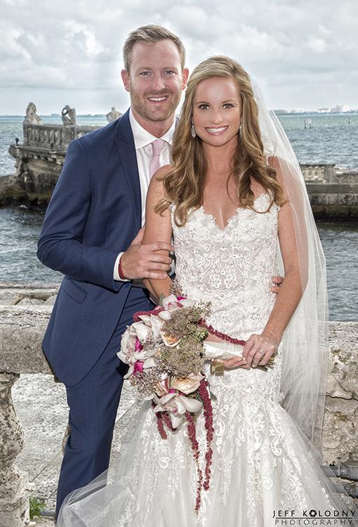Bride and groom portrait shot at a Vizcaya Wedding Miami