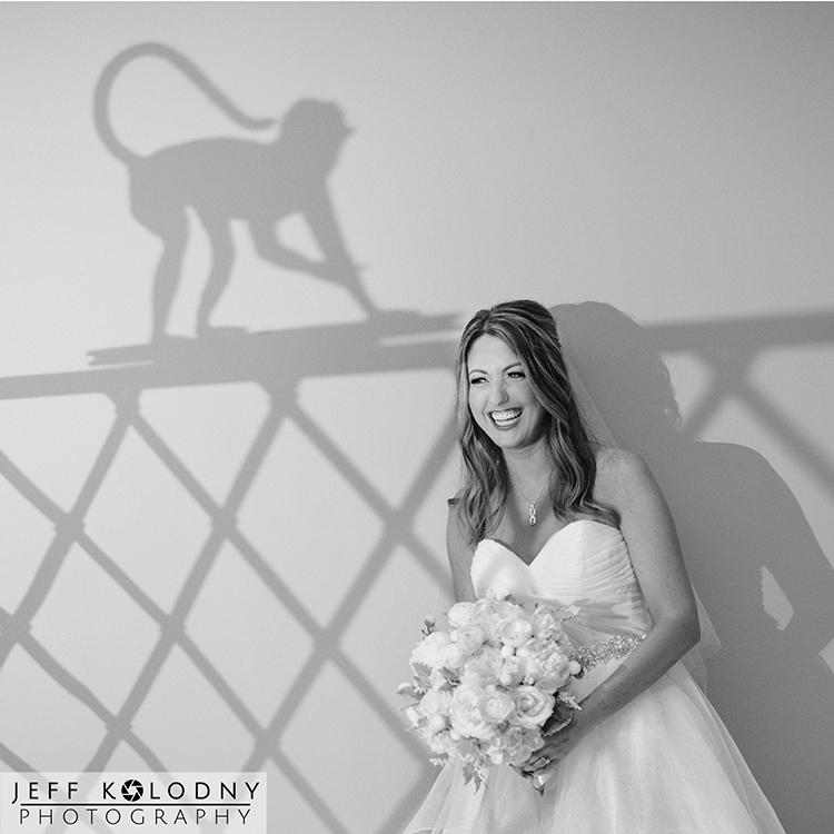 Bride having a laugh during her Boca Resort wedding.