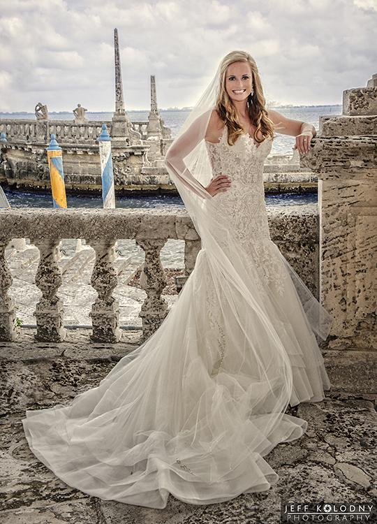 Lauren posing at her Vizcaya Wedding Miami