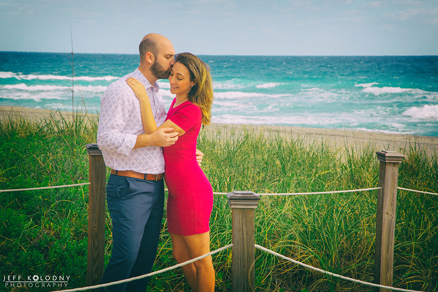 The beach club at The Boca Raton Resort is a fantastic place for engagement pictures.
