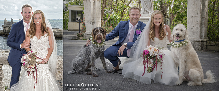 Once the couple arrived for their Vizcaya Wedding Miami, the very first picture was with their furry friends.
