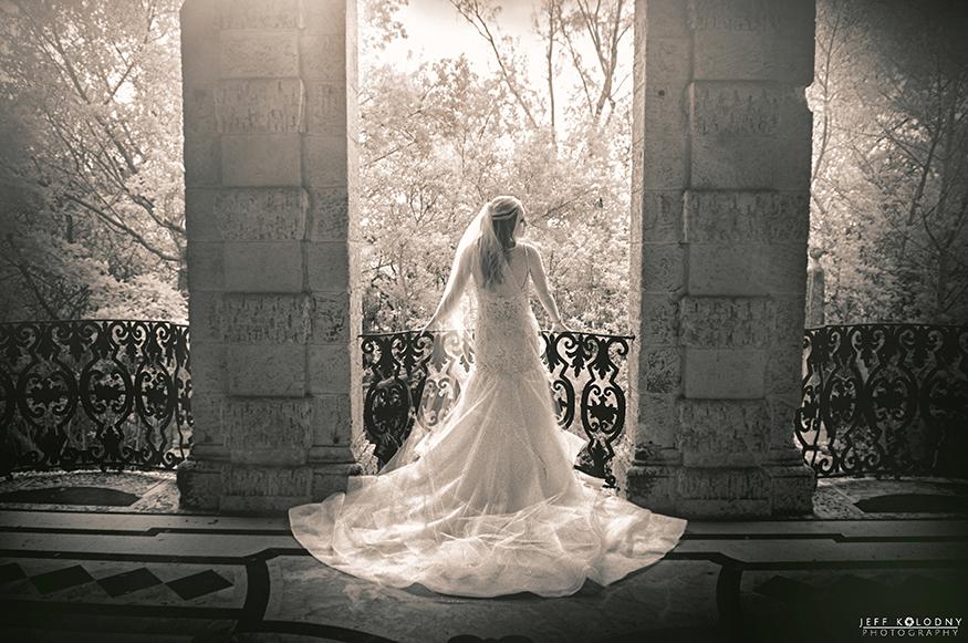 Infrared bridal picture taken at a Vizcaya Wedding Miami