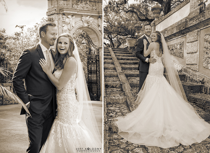 Check out this sepia toned scenery at this Vizcaya wedding Miami.