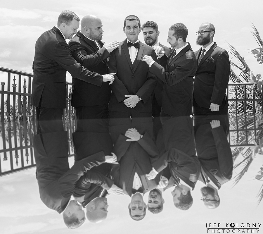 Groom and his guys at the Opal Grand Hotel in Delray Beach.