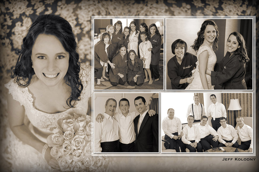 Wedding album layout from a wedding at the Ritz-Carlton Coconut Grove.