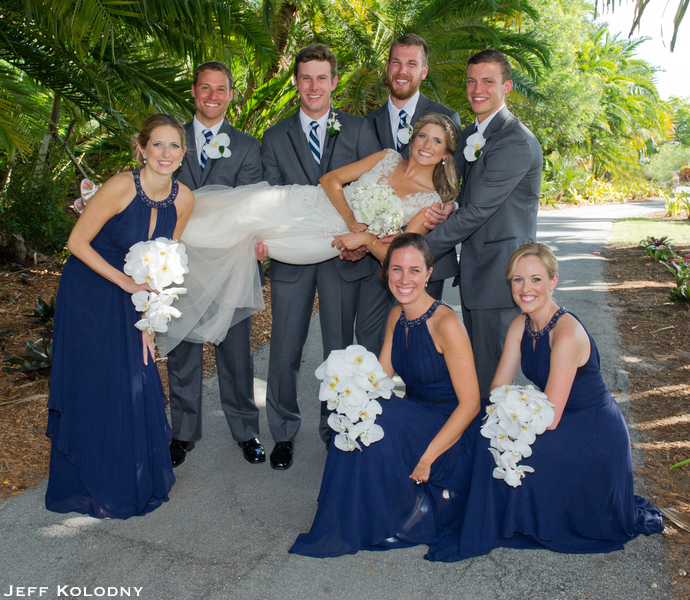 Bride and Groom with their wedding party, taken at The Ocean Reef Club.