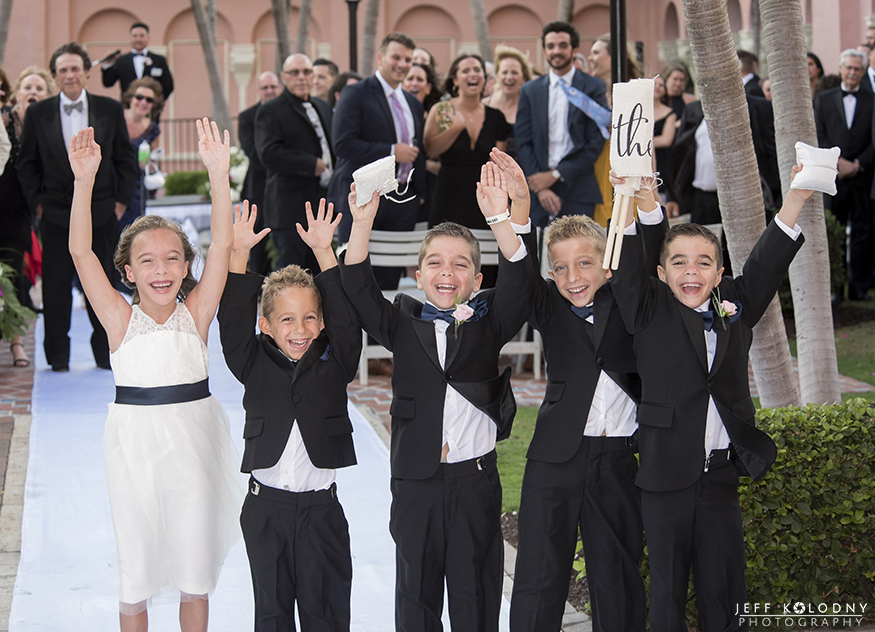 Boca Raton wedding photo of little kids posing for a fun after the ceremony photo.