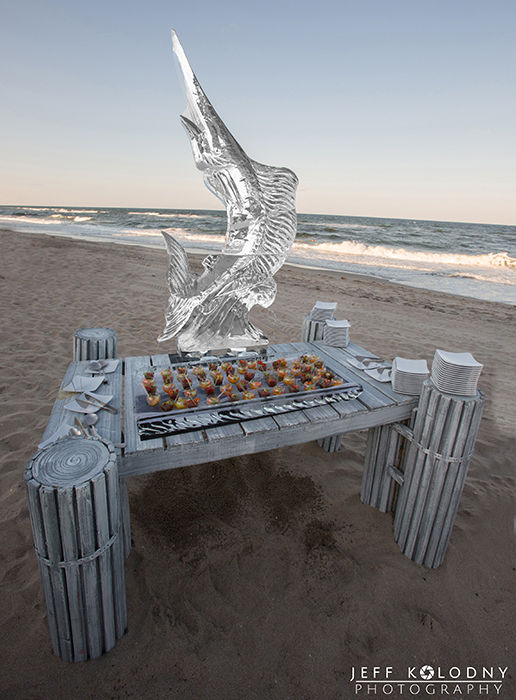 This Boca Beach Club special event features this amazing Ice sculpture on the beach.