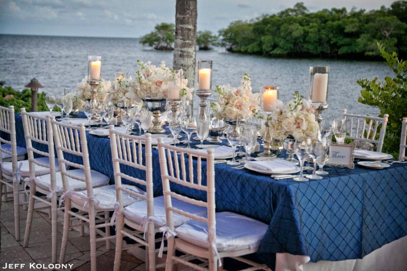 Ocean Reef Club wedding reception tables with flowers.