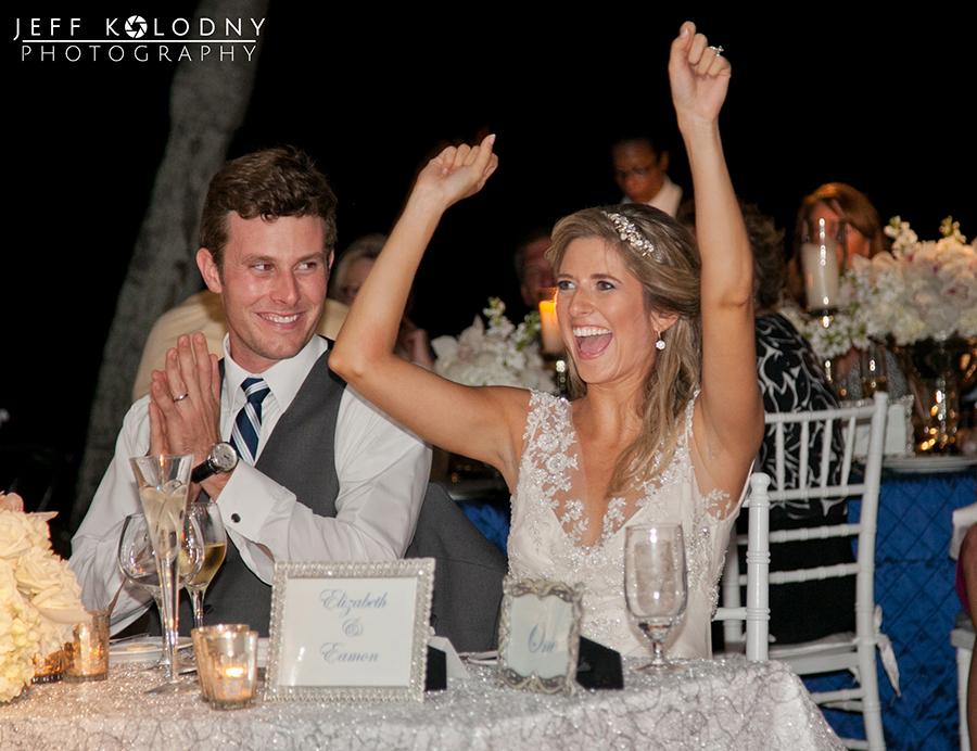 Bride and Groom having fun at their Ocean Reef Club wedding reception.