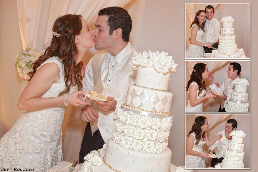 Bride and Groom cutting and eating cake at the Ritz-Carlton Miami.