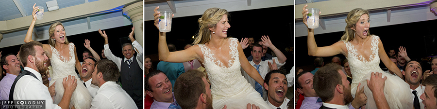 Bride in action at her wedding reception.