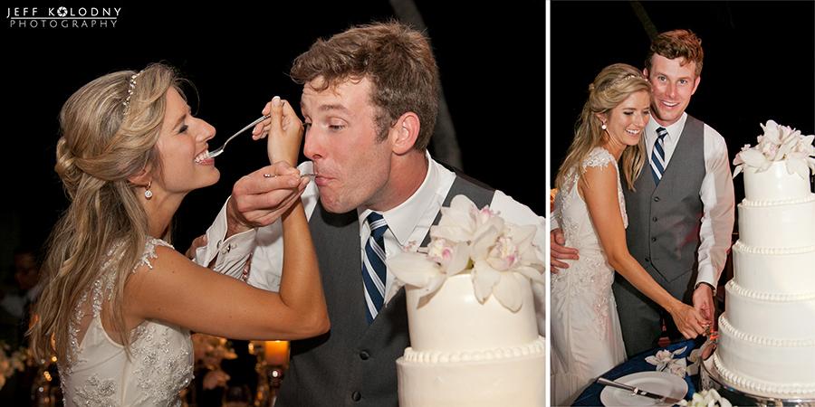 Bride and groom enjoying wedding cake at the Ocean Reef Club.