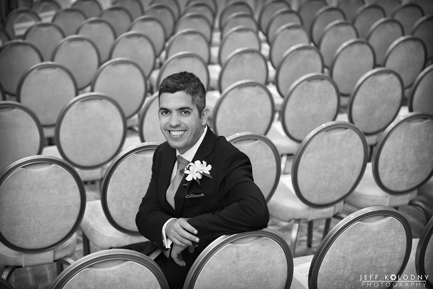 I shot this Wedding photo in the hotel ballroom using the ceremony chairs as a background. The Ritz-Carlton in Fort Lauderdale has several large beautiful ballrooms.