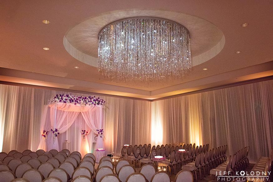 The ballroom at the Ritz-Carlton ready for the wedding ceremony.