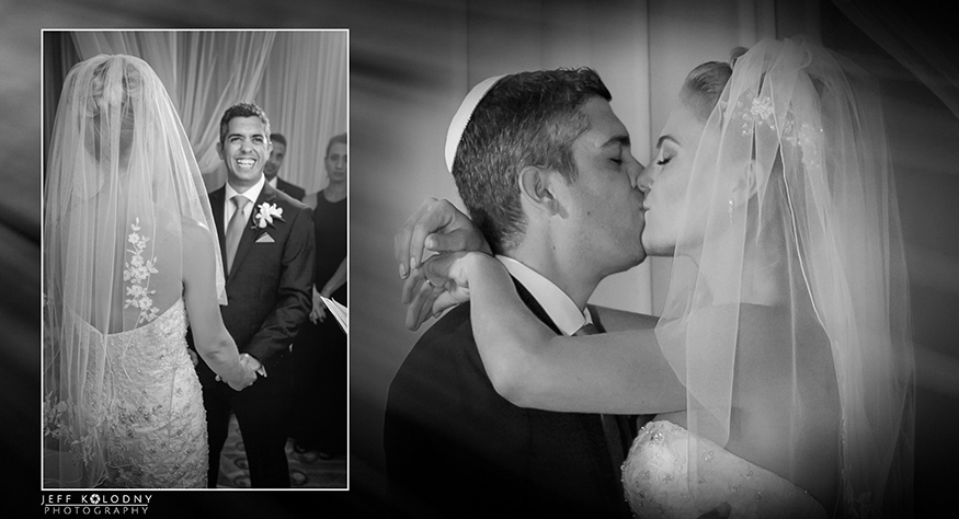 The big kiss at the end of a Fort Lauderdale Jewish wedding.