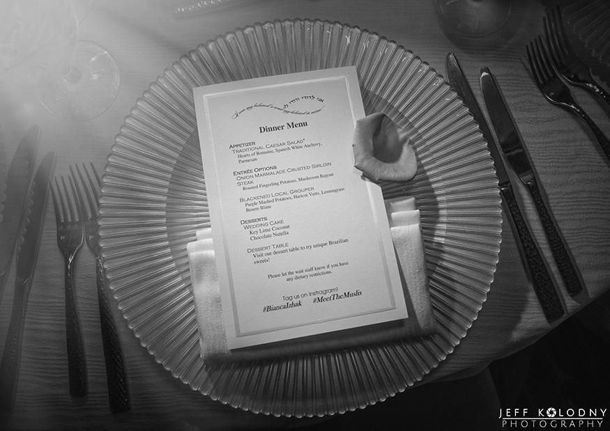 Fort Lauderdale wedding photography dinner menu photo.