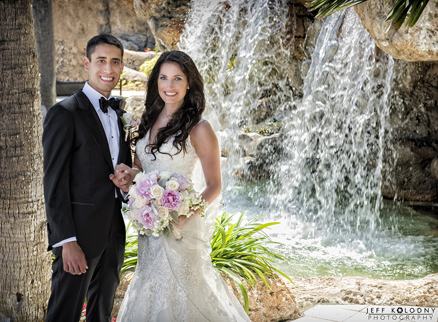 The hotel waterfall provided another great place to wedding pictures.