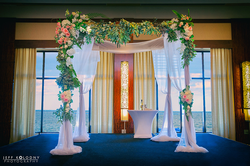 This huppah was set up on the hotels Ocean Ballroom. The ballroom has such an amazing view of the Atlantic Ocean.