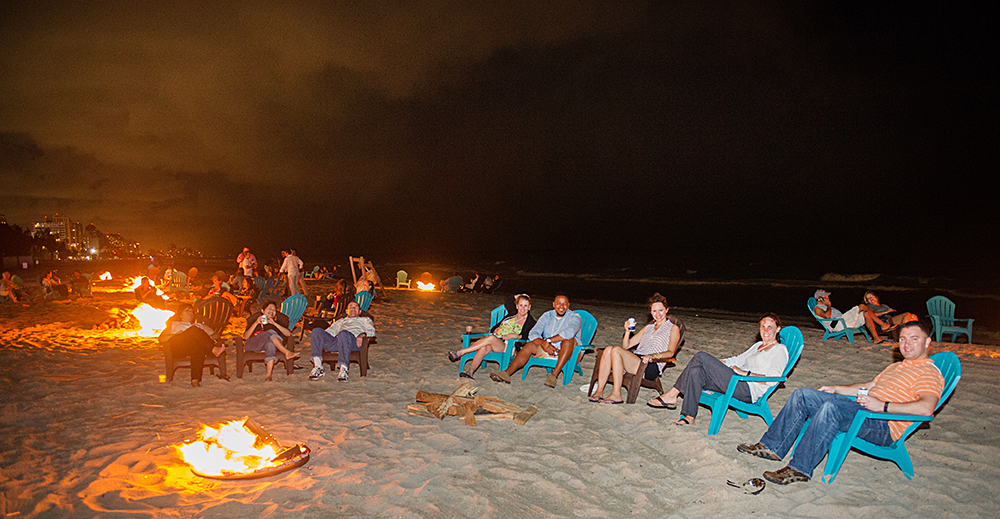 Bonfires on the beach at the Harbor Beach Marriott
