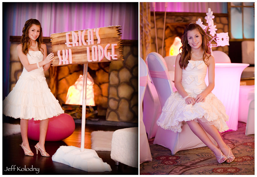 Erica's Bat Mitzvah decor included this very creative ski lodge.
