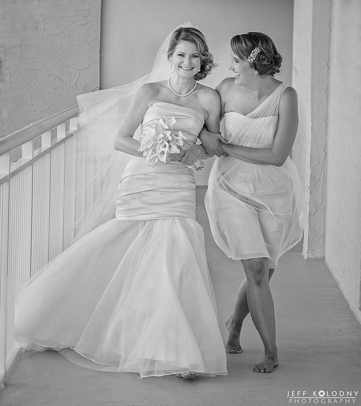 Bride and her sister walking to see the groom for their Boca Raton elopement ceremony