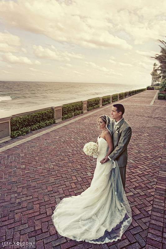 Elopement photo taken at The Breakers, Palm Beach Florida.