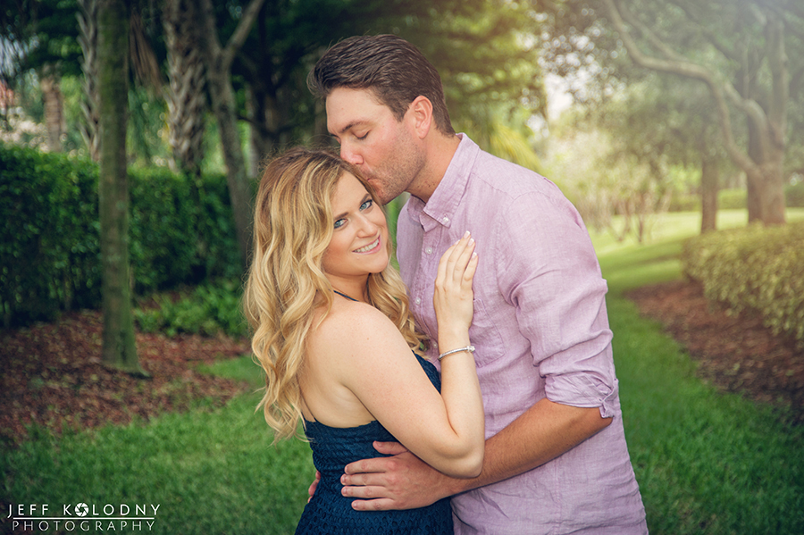 This engagement photo was taken in a perfectly landscaped part of Boynton Beach.