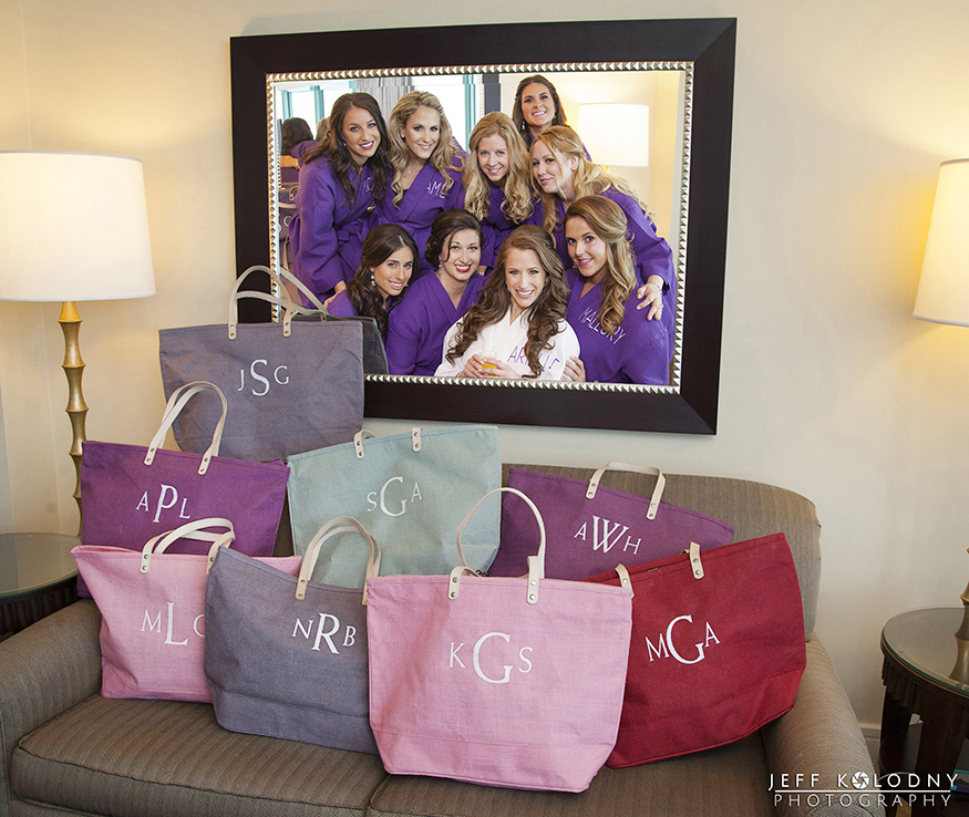 Each bridesmaid got a custom travel bag.