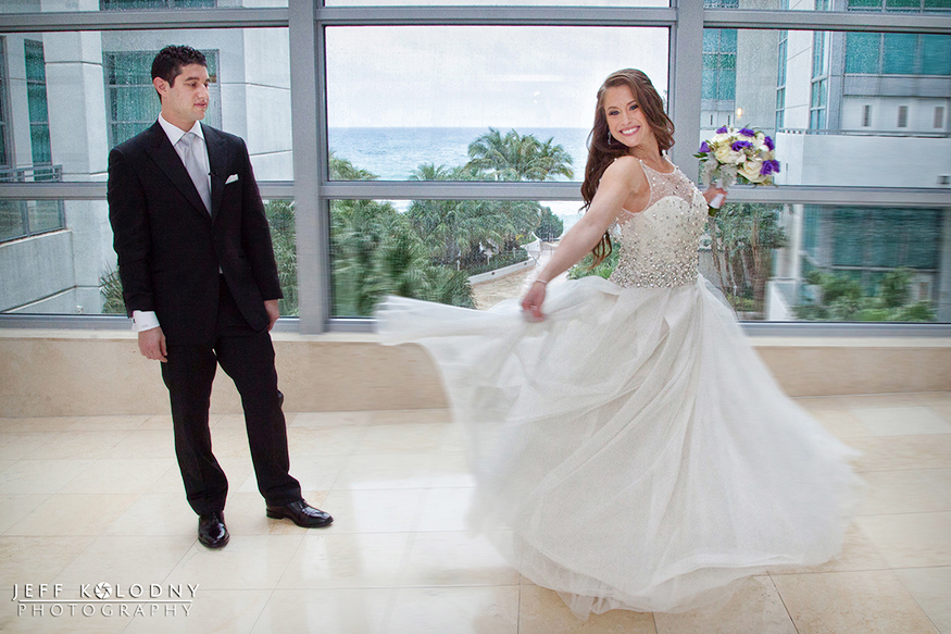 During the first look the bride did a spin for the groom so he could see the entire gown.