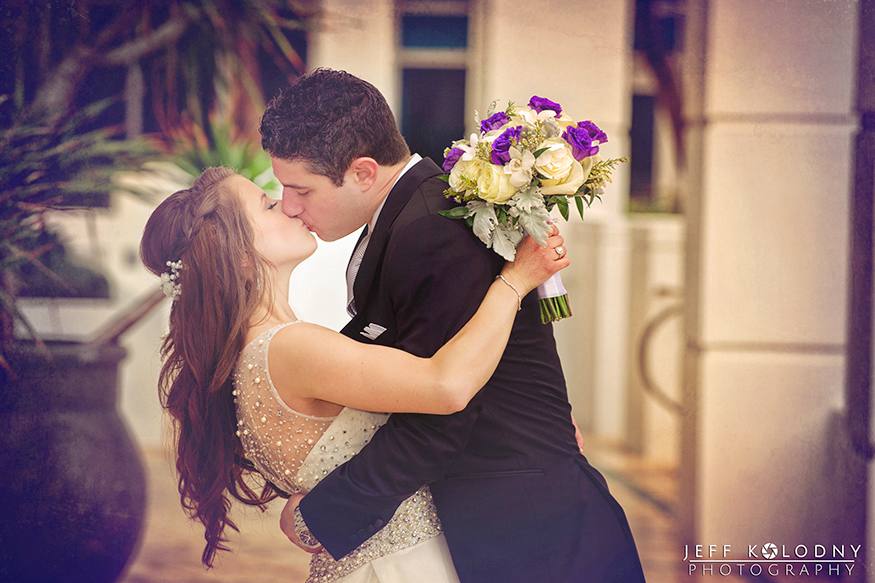 Bride and Groom kissing at the Diplomat Hotel