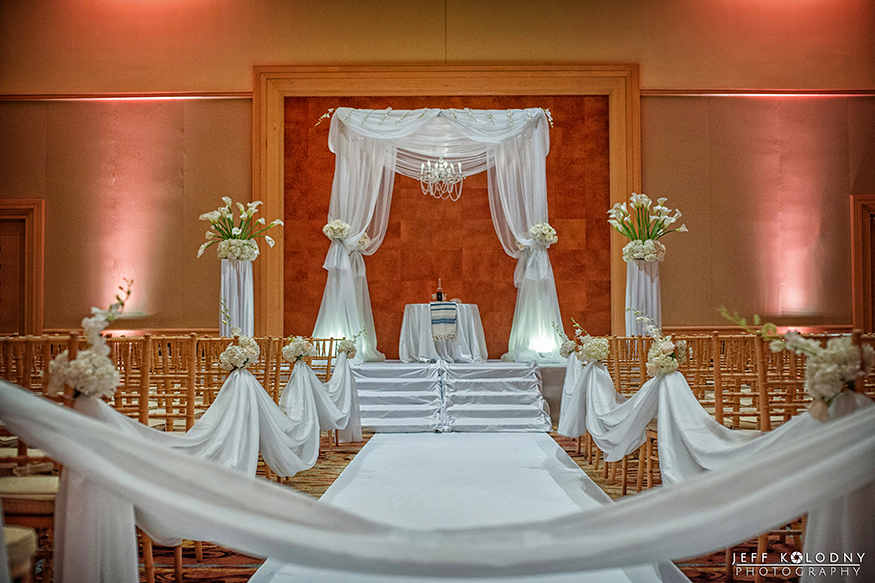 The wedding ceremony took place in one of the Diplomat's ballrooms.