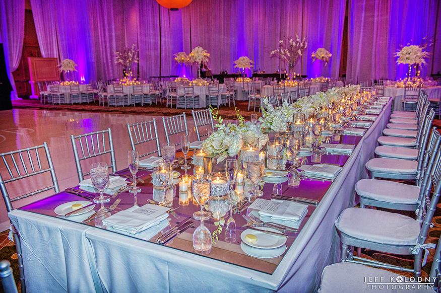 Long tables at the Diplomat wedding reception.