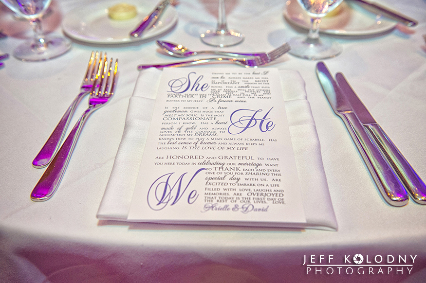 Place table cards with writing at the Diplomat Hotel.