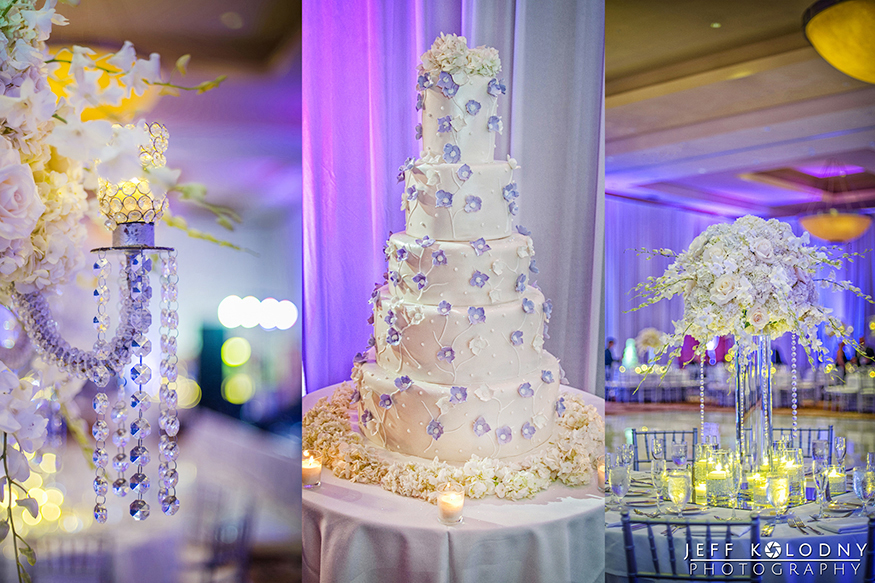 Wedding cake with flowers at inside the Diplomat Hotel Ballroom