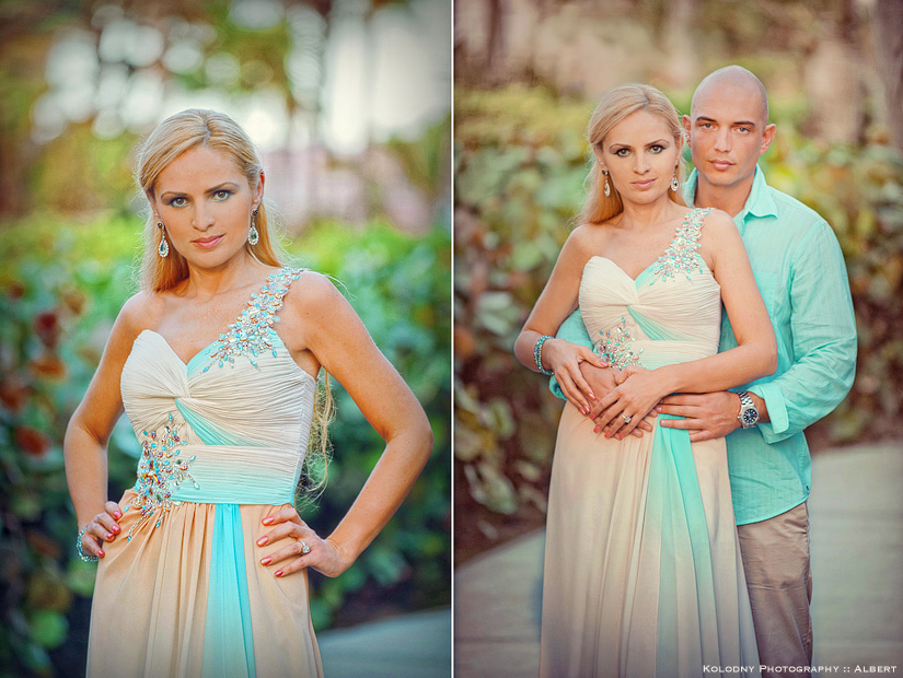 Bride and groom posing for casual pictures the day before their Bahamas wedding.