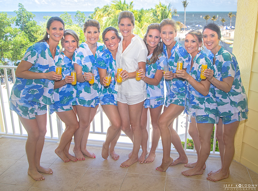 Bride and her bridesmaids at the Ocean Reef Club in Key Largo, Florida.